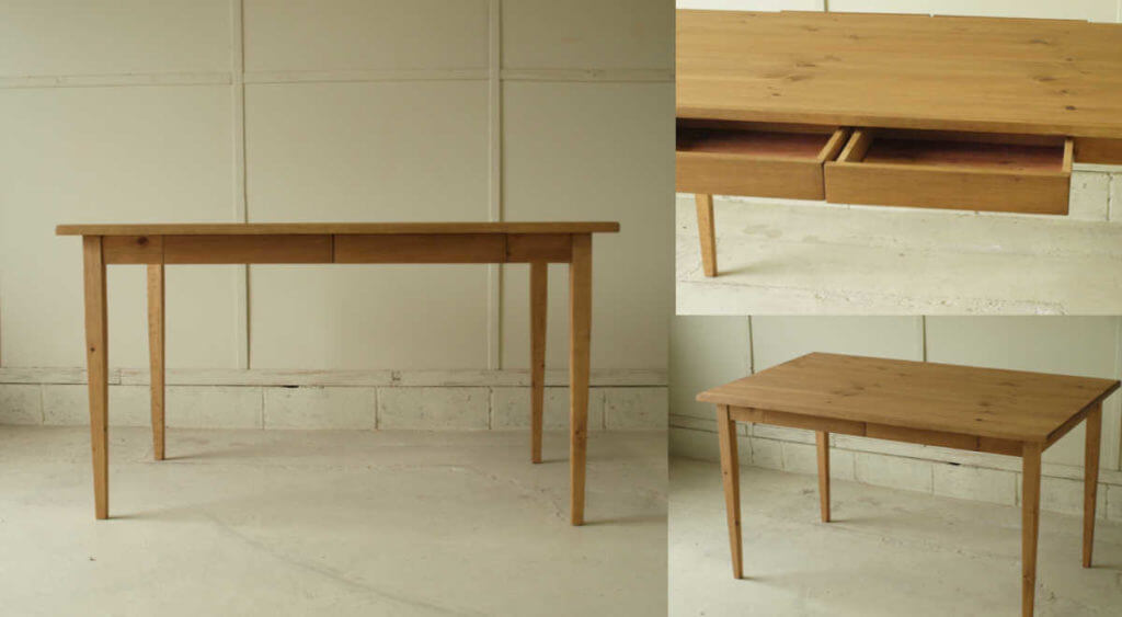 ダイニングテーブル023引出付(完成品)130×72×80¥51,800