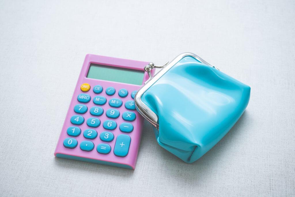 電卓とがま口財布